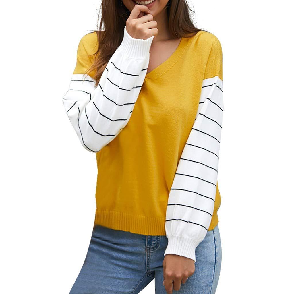 New in HAALIFE◕‿ Women Stripe Sweatshirts V Neck Sweatshirt Casual Long Sleeve Tunic Comfy Soft Color Sweatshirt by HAALIFE Women's Clothing