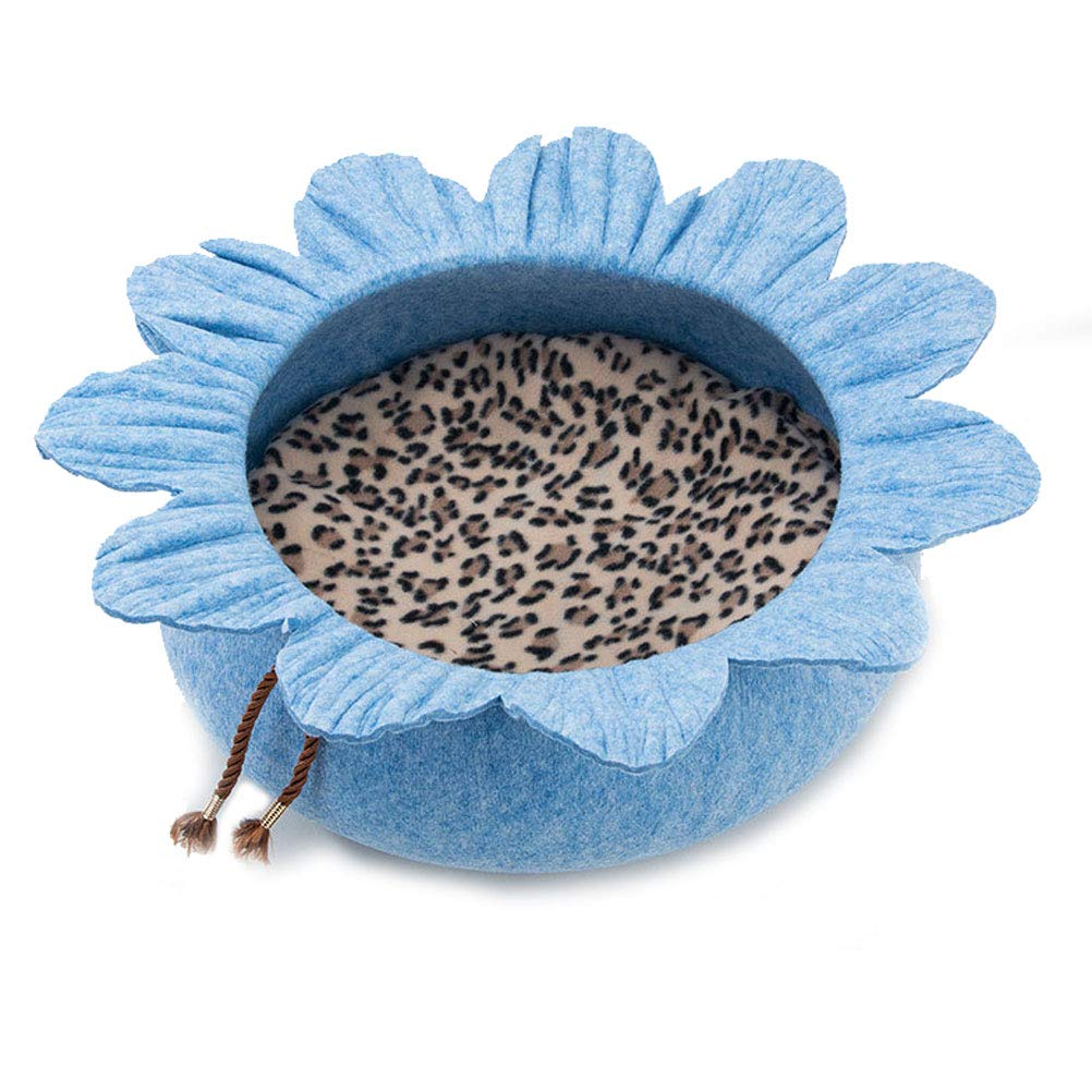 bluee GCHOME Dog bed Cat Bed,Washable Non-slip Dog Kennel Cat Nest Sleeping Bag,Waterproof Removable Plush Warm Cushion Indoor Small Pet Nest (color   bluee)