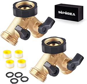 Dual Brass Hose Splitter, 2 Way 2 Valves Full Flow,Y Connector Outdoor Dual Faucets Adapter, RV Water Hose Splitter, Thread 3/4 Perfect For Garden, Yard, Outdoor, Farm, Camping etc(2 PACK)