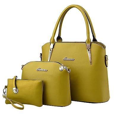 ece5fff59c668 Baymate Damen Elegant Leder Handtaschen Schulter Beuteltote Schultaschen  Hobo Set Frucht Grün  Amazon.de  Schuhe   Handtaschen