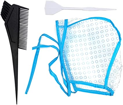 Skystuff - Gorro desechable para colorear el cabello con gancho de plástico y cepillo de tinte para el cabello para salón de belleza, spa, peluquería ...
