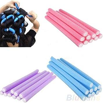10 unidades de rodillos de espuma para rizador de pelo largo, de espuma suave, con esponja curvada, para cabello largo, pelo corto: Amazon.es: Belleza