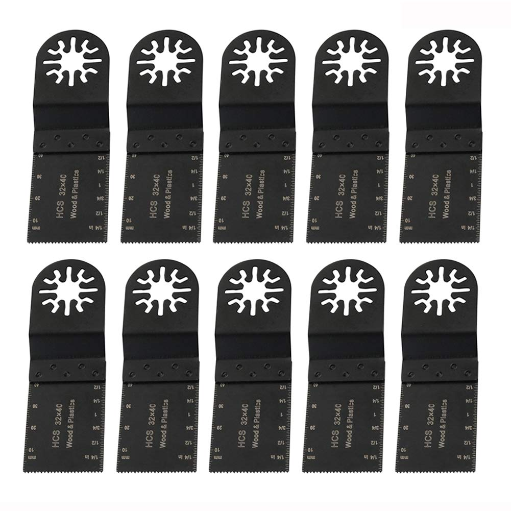 10PCS Metal/Wood/Plastic Oscillating Multi Tool Saw Blades Quick Release Oscillating Tool Blades Fit Fein Multimaster Porter Cable Black & Decker Dewalt Bosch By Rely2016 (1#)