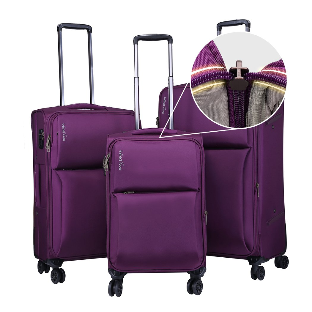 Windtook 3 Piece Luggage Sets Expandable Spinner Suitcase Bag for Travel and Business (8039-Purple-YKK)