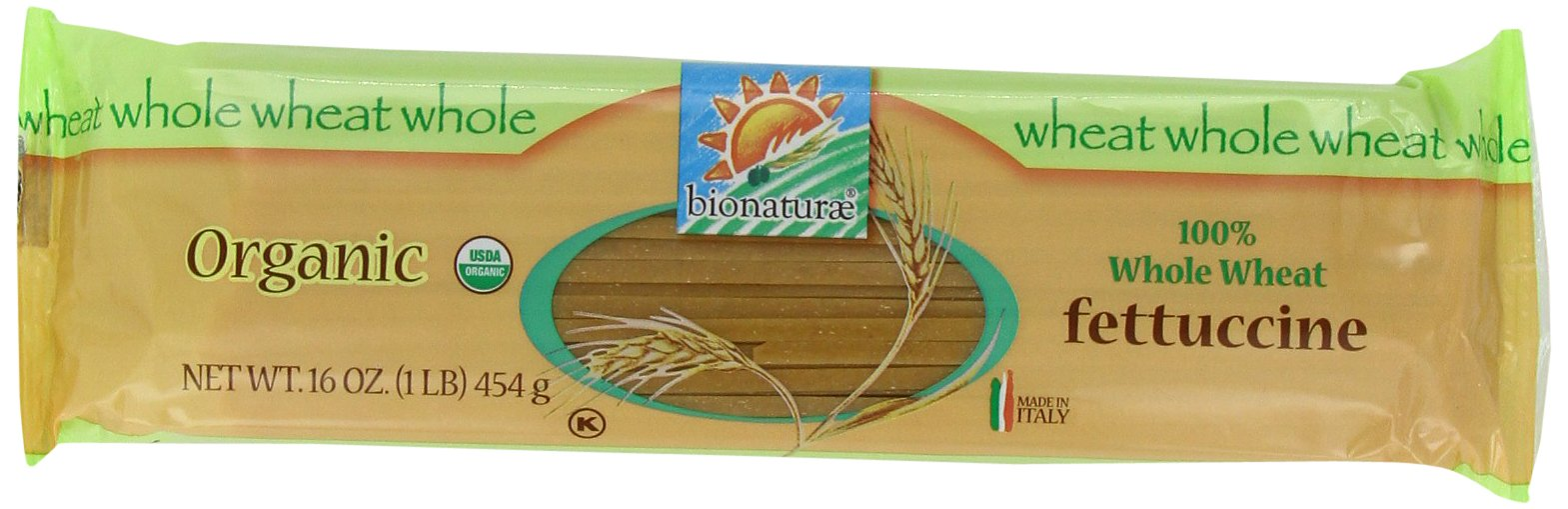 bionaturae Organic Whole Wheat Fettucine, 16 Ounce Bags (Pack of 12)