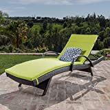 Cheap Christopher Knight Home 296783 Salem Outdoor Wicker Chaise Lounge Chair with Arms with Cushion, Brown with Green