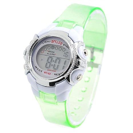 Tongshi Reloj ligero Niño Niña Fecha Alarma Digital multifunción Deporte LED (verde transparente)