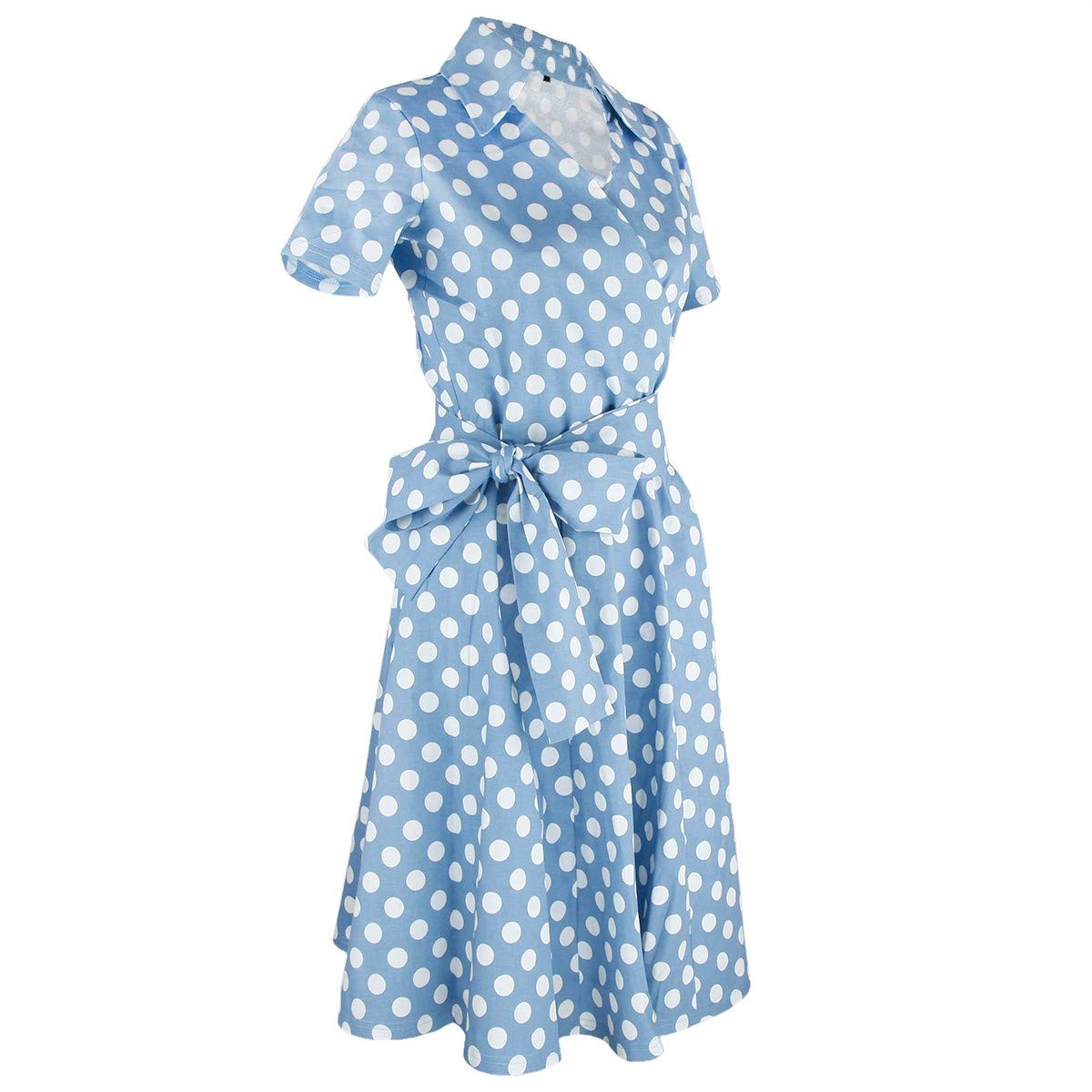 3style 2 (Polka Dot) moonsix Women's Retro Casual Dresses V Neck Vintage ALine Plaid Dress with Short Sleeves