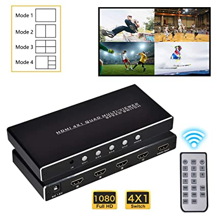 HDMI 4x1 Quad MultiViewer, 1080P 4 in 1 Out, 4 Modes with IR Remote for  Game/Exhibition Hall/Education/Surveillance/Video Meeting etc