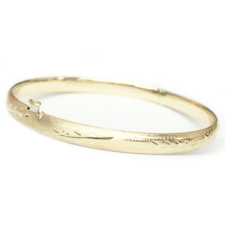 8ae914001f6f2 Amazon.com: Ritastephens 14k Yellow Gold Hinged Floral Engraved ...