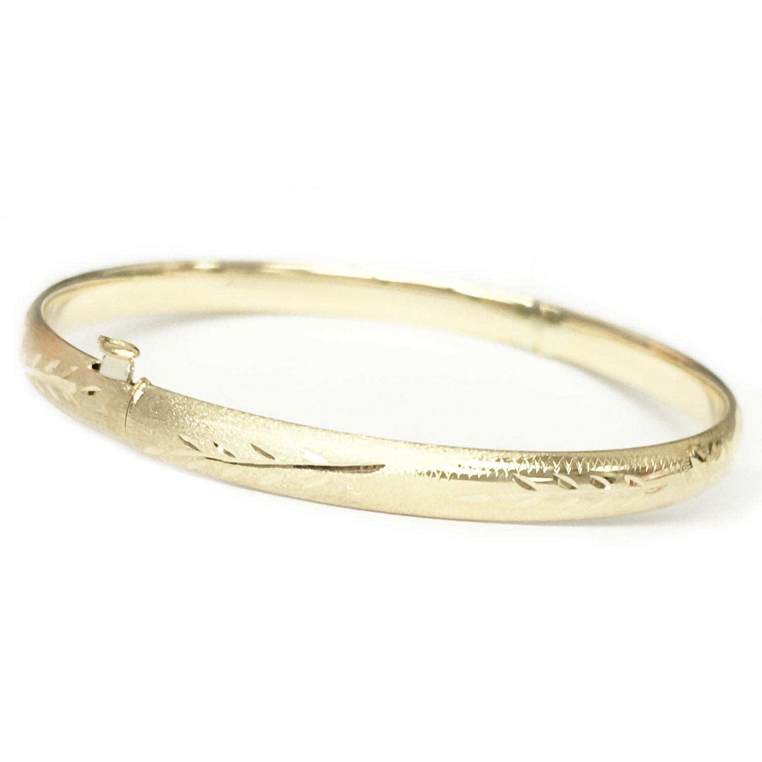 14k Real Yellow Gold Engraved Bangle Bracelet 8 Inches