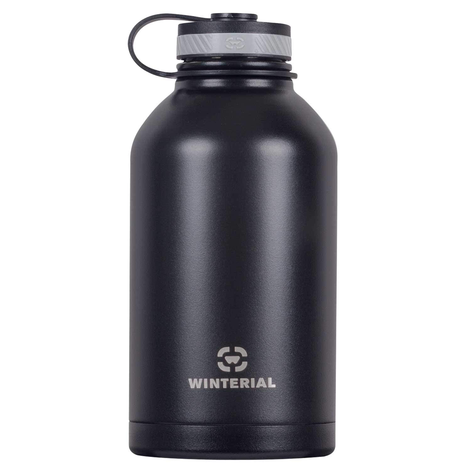 Winterial 64 oz Insulated Growler and Steel Water Bottle, Beer Growler, Double Walled Thermos Flask, Insulated Growler