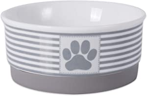 Bone Dry Paw Patch & Stripes Ceramic Pet Bowl & Canister Collection, Small Bowl - 4.25 x 4.25 x 2