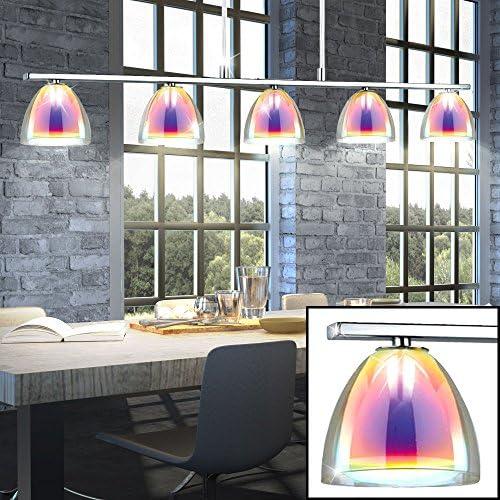 Hänge Leuchte Wohn Ess Zimmer Decken Pendel Lampe Spot Leiste Irisierendes Glas