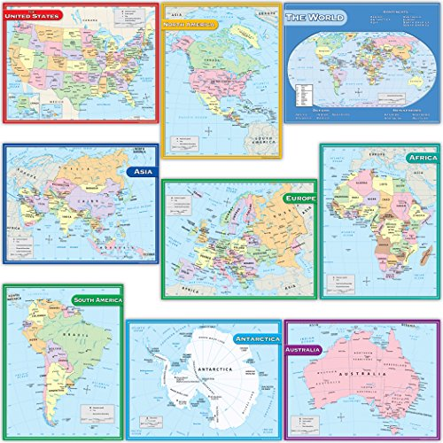 Teacher Created Resources TCR9689 Map Charts Set (Pack of 9)