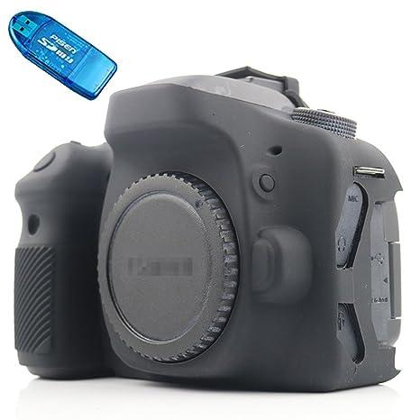 First2savvv negro cuerpo completo caucho de TPU funda estuche Silicona para cámara para Canon EOS 80D + Lector de tarjetas SD XJPT-80D-GJ-01G10