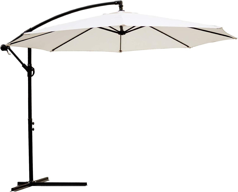 MMBBOD 300cm Parasol de Jardín sombrillas terraza inclinable Grande Sombrillas Patio con Manivela Protección Solar UV 50+, para Jardín Patio Playa Exterior (Color : White)