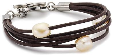 Lederarmband für damen braun  Boccia Damen-Armband 5 Leder Braun, 3 Perlen Rose 0363-01: Amazon ...
