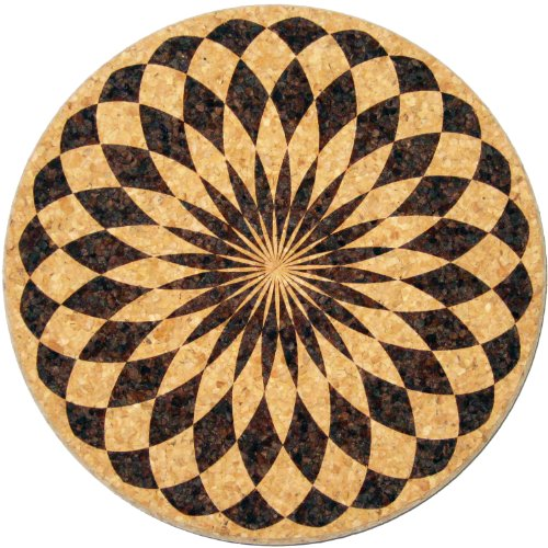 XL Coasters Harlequin Rosette (9 Inch) Oversized cork absorbent drink coaster that really works (Best Cork Floorings)