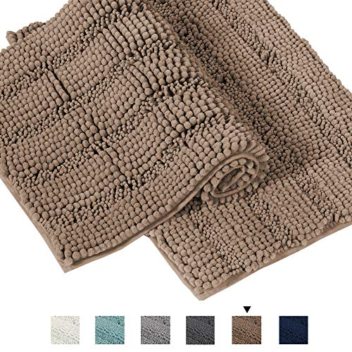 Original Luxury Striped Chenille Bathroom Rug Mat, Extra Soft and Absorbent Rugs, Machine Wash /...