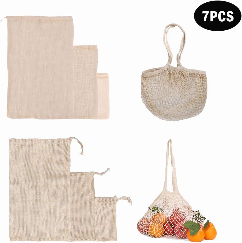 kitchen-dream Bolsas de Productos Reutilizables, Bolsas de Verduras de algodón orgánico Bolsas de Verduras de Malla Lavables Bolsas de Verduras de Frutas ecológicas, biodegradables y Lavables: Amazon.es: Hogar