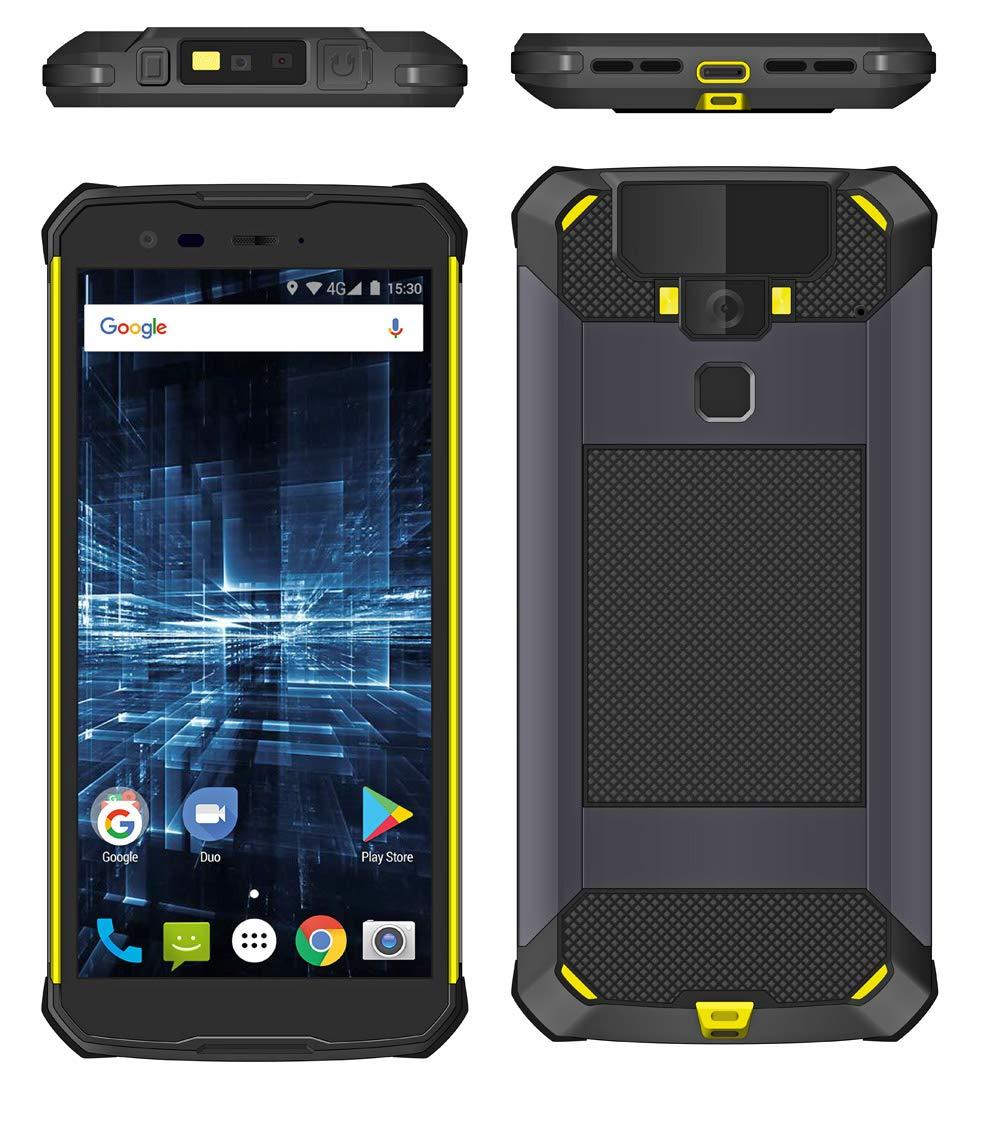HiDON 5.7inchAndroidPDAHandheldswithHoneywell 2DBarcodeScanner Unlock Fingerprint ScannerIP68 Rugged PDA Support NFC/GPS/Glonass/Dual-Band WiFi/Blutooth 5.0 for Logistics, Warehouse