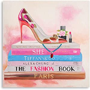 B BLINGBLING Pink Fashion Wall Art: Stack of Modern Fashion Books with Leopard High Heels Perfume Lipstick Makeup Canvas Art Wall Decor for Teen Girls Women Bedroom Bathroom 24