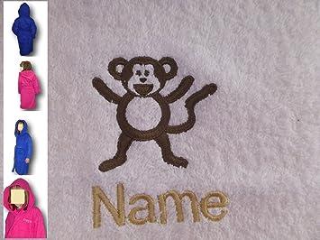 Albornoz con capucha infantil con un mono Logo y nombre de su elección en Royal azul