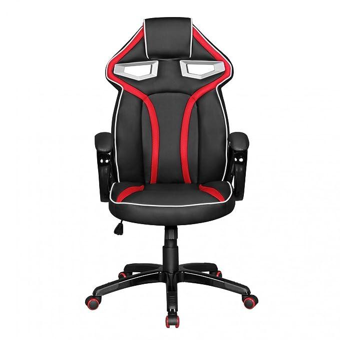 Amstyle Game Star - Gaming Chair de Piel sintética en Negro/Rojo: Amazon.es: Hogar