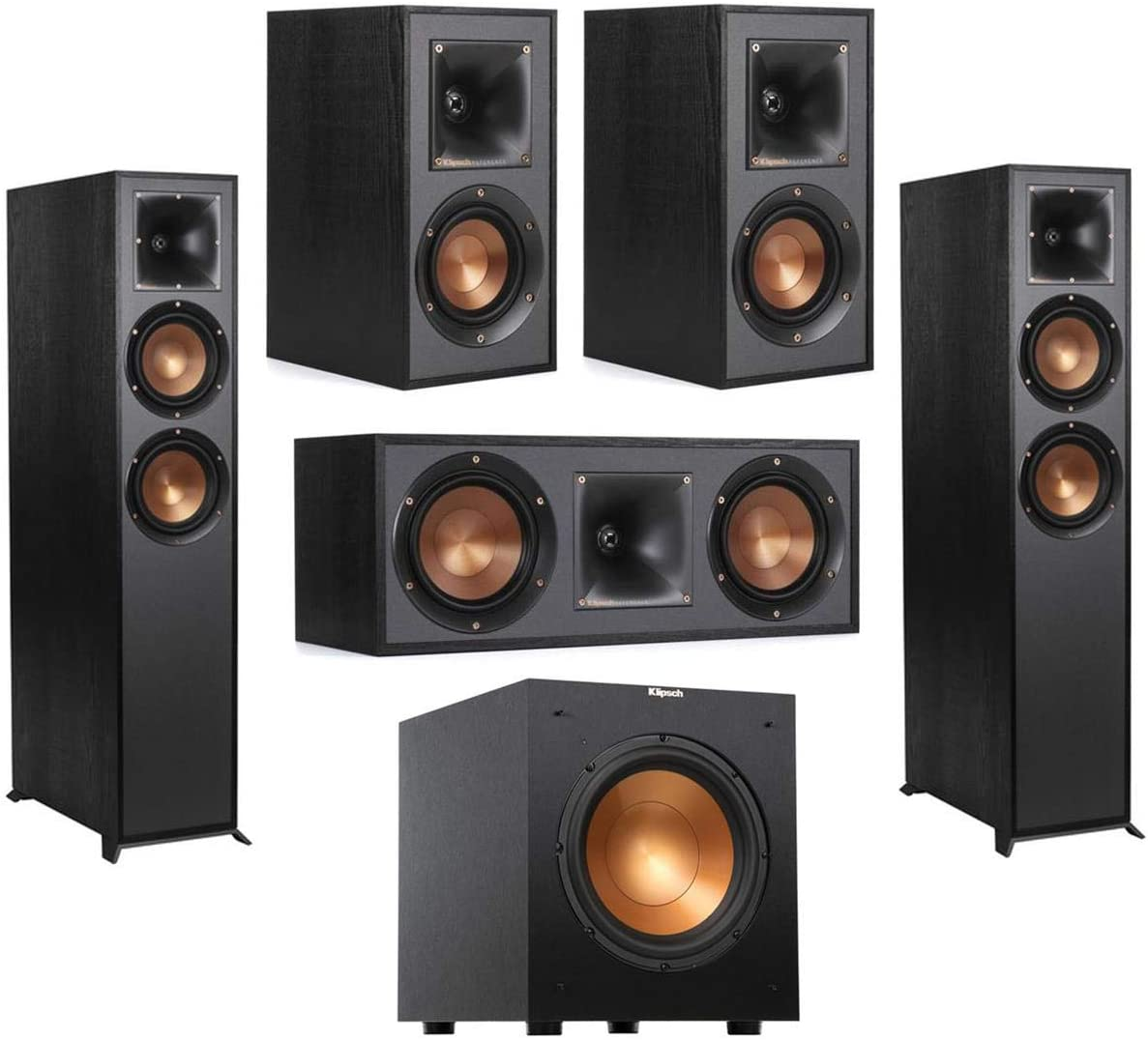 Klipsch 2 Pack R-625FA Dolby Atmos Floor Standing Speaker - Bundle with R-41M Bookshelf Home Speakers, R-52C Center Channel Home Speaker, Reference R-10SW 10