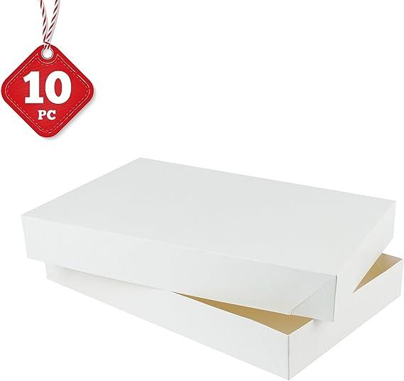 RUSPEPA 38,5 X 24,5 X 5,1 Cm Scatola Regalo Di Cartone Con Coperchio Scatole Regalo Decorativi Bulk Per Abiti Bianco 10 Confezione Completa