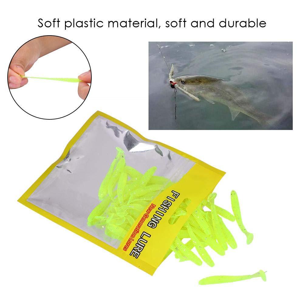 50pcs Soft Fishing Lures Baits Set 5cm Plastic Fishing Bait T-Tail Grub Worm Baits Fish Tackle Accessory 9 Colors Black