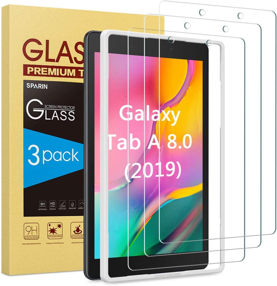 Screen Protector for Galaxy Tab A 8.0 (2019), [3 Pack] SPARIN Tempered Glass for Samsung Galaxy Tab A 8.0 (SM-T290 WiFi Version) [Alignment Frame] [Scratch Resistant] [Bubble Free]