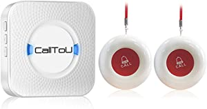 CallToU Caregiver Pager Wireless SOS Call Button Nurse Alert System for Home Elderly Patient Seniors Disabled Personal Attention Pager 500+ Feet 2 Waterproof Transmitters 1 Plugin Receiver