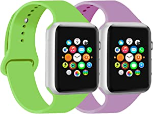CoJerk Compatible for Apple watch Band 38mm 40mm 42mm 44mm,Replacement Band for iWatch Series 5/4/3/2/1 (Green+Lavender, 38mm/40mm-sm)