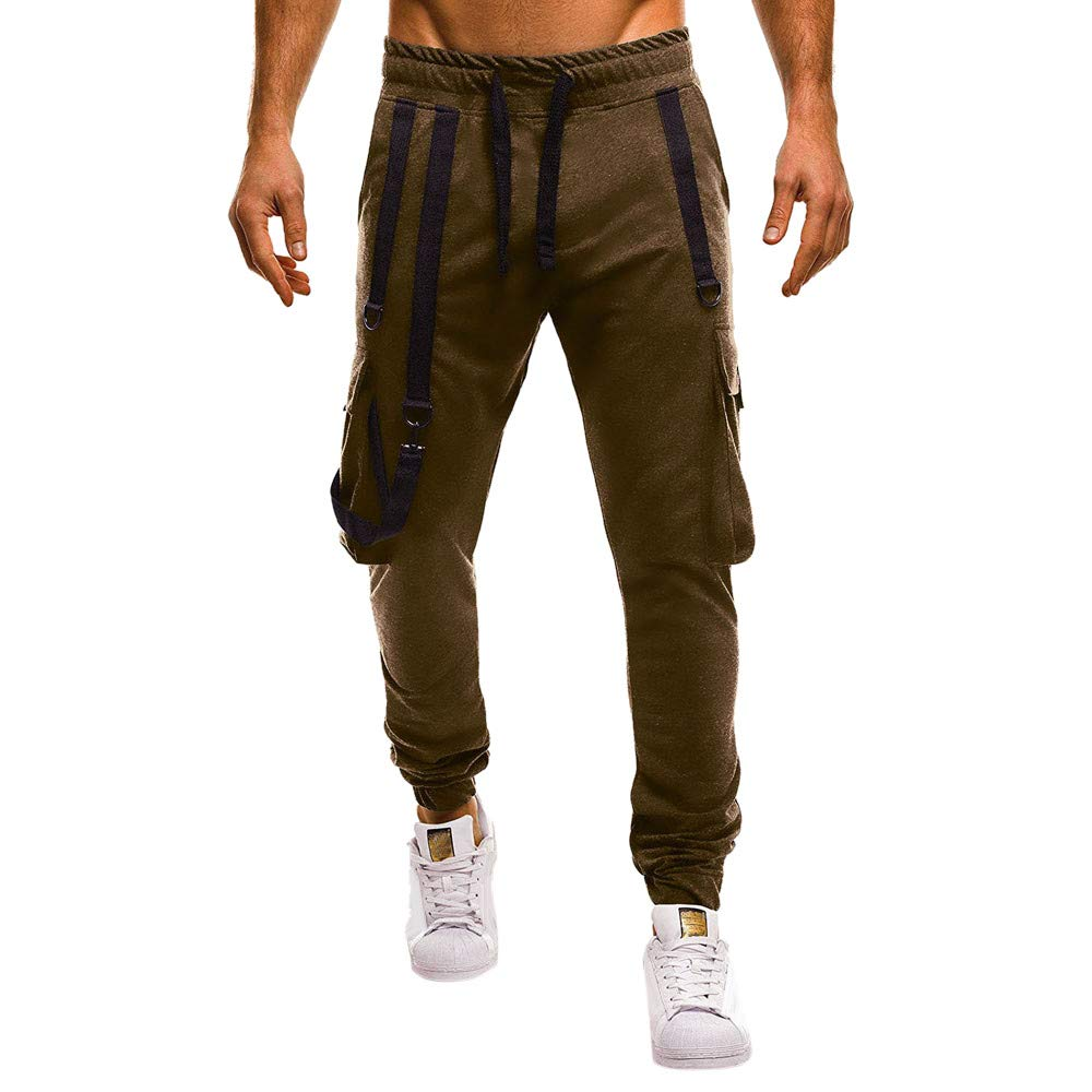 PASATO Men Camisole Pocket Overalls Casual Pocket Sport Work Casual Trouser Pants, Clearance Sale(Army, XXL