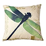 Crystal Emotion 18 X 18 Inch Cotton Linen Retro Vintage Home Decorative Indoor/Outdoor Throw Cushion Cover/Pillow Sham Dragonfly (D.)