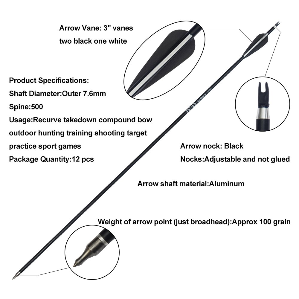 D&Q Aluminum Arrows 31 Inch with Fletched 3 Inch Feather Vane Screw-in Field Points Replaceable Tips Adjustable Nocks for Recurve Compound Bow Longbow Hunting Shooting Target Practice (Pack of 12) by Aiersha Trading Company (Image #2)