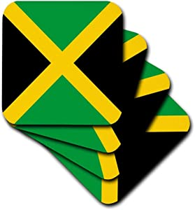 3dRose CST_158342_3 Flag of Jamaica Square Caribbean Jamaican Green Black Yellow Gold Saltire Cross The Cross Ceramic Tile Coasters, Set of 4