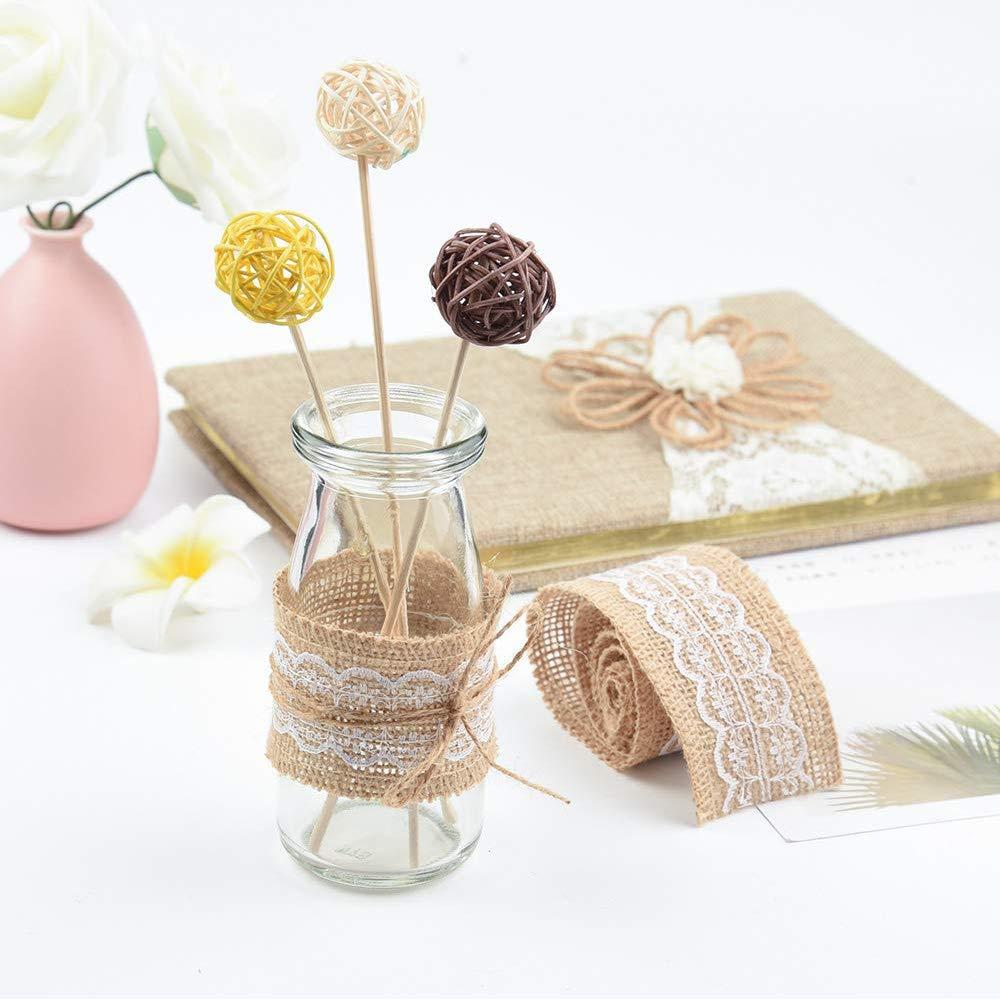 10 rollos decoraci/ón r/ústica de tarta de boda Gobesty rollos de cinta de arpillera cinta de arpillera natural con ribetes de encaje blanco para manualidades