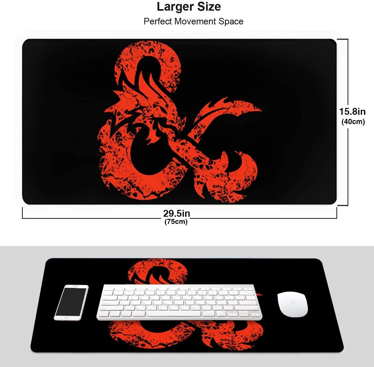 Dungeons /& Dragons Grace-Ra Large Gaming Mouse Pad 15.8 X 29.5 Inch Red Aged