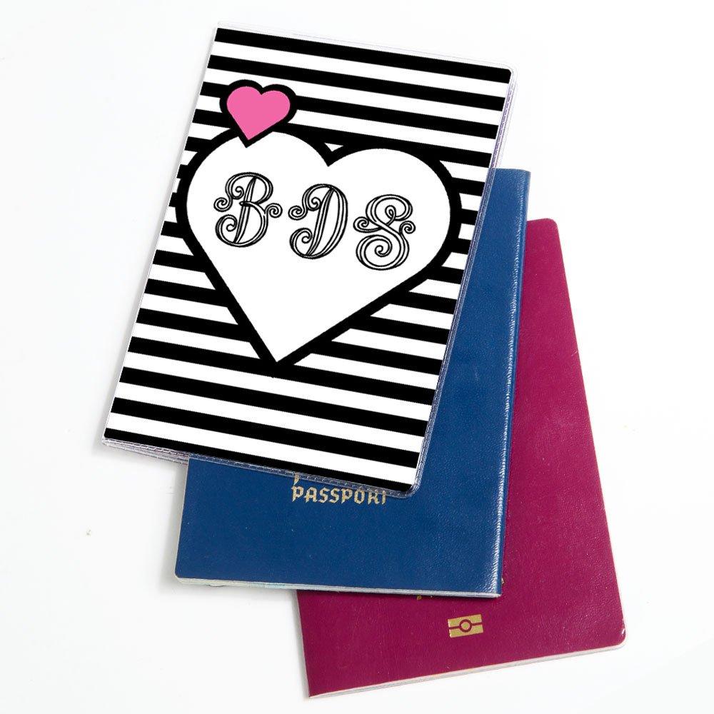 Amazon.com | Personalized Passport Case - Passport Travel Cover - Monogram B&W Heart Pattern | Passport Covers