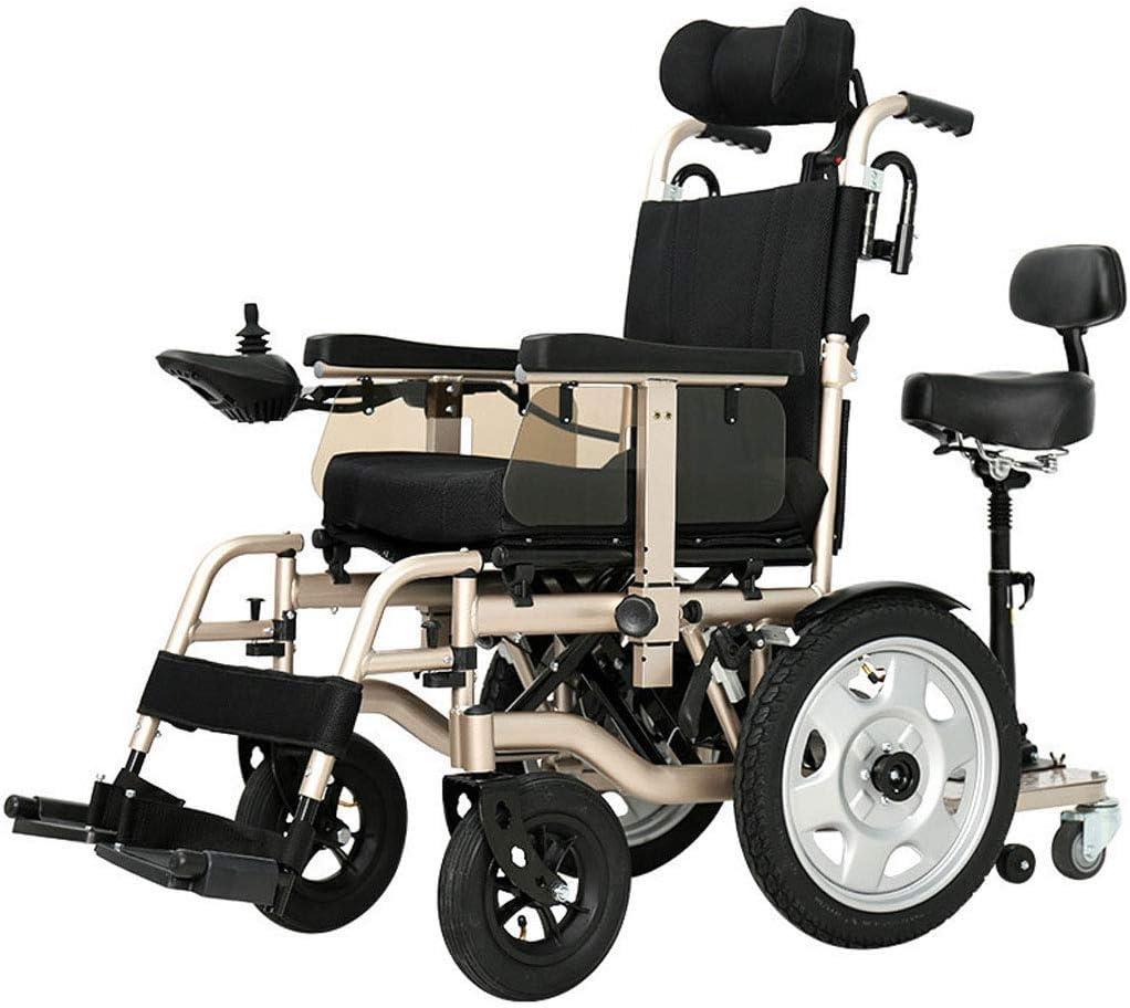 CANDYANA Silla De Ruedas Eléctrica De Servicio Pesado Silla De Ruedas Eléctrica Motor Doble Plegable Adaptable A Una Variedad De Pavimentos Discapacitados Ancianos Oro