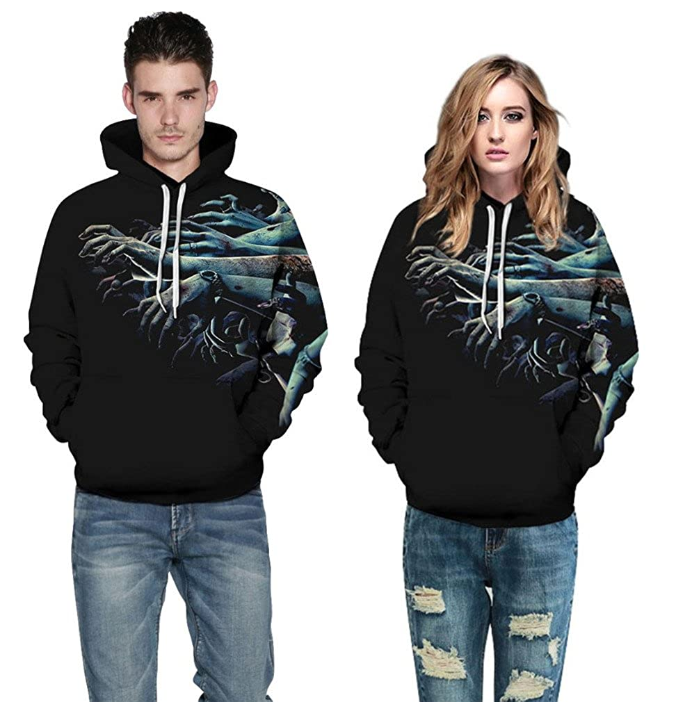 Cavinsle Designed Hoodies Men//Women 3D Sweatshirts Zombie Print Unisex Hoodies