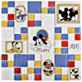 "SomerTile WDSCLS35 Disney Classic Multi Glass Mosaic Wall Tile, 11.75"" x 11.75"", , White, Blue, Red, Yellow, Black"
