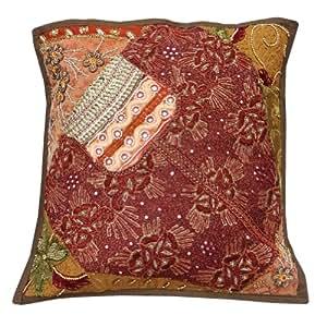 """Cojín Decoración del hogar Art rojo caso abalorios hechos a mano tradicional del remiendo decorativo almohada cubierta India 16"""" pulgadas"""
