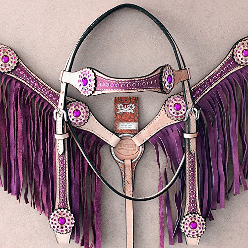 HILASON AMERICAN LEATHER HORSE HEADSTALL BREAST COLLAR TAN PURPLE FRINGES (Tan Breast Collar)