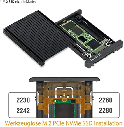 Icy Dock EZConvert MB705M2P-B - Adaptador y convertidor para SSD M.2 PCIe NVMe a SSD U.2 PCIe SFF-86392.5