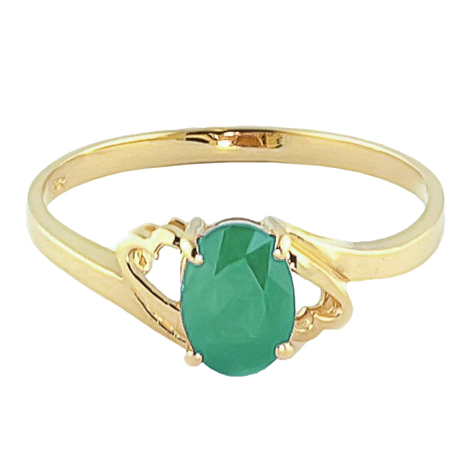 14k Yellow Gold Natural Emerald Ring - Size 6.0 by Galaxy Gold