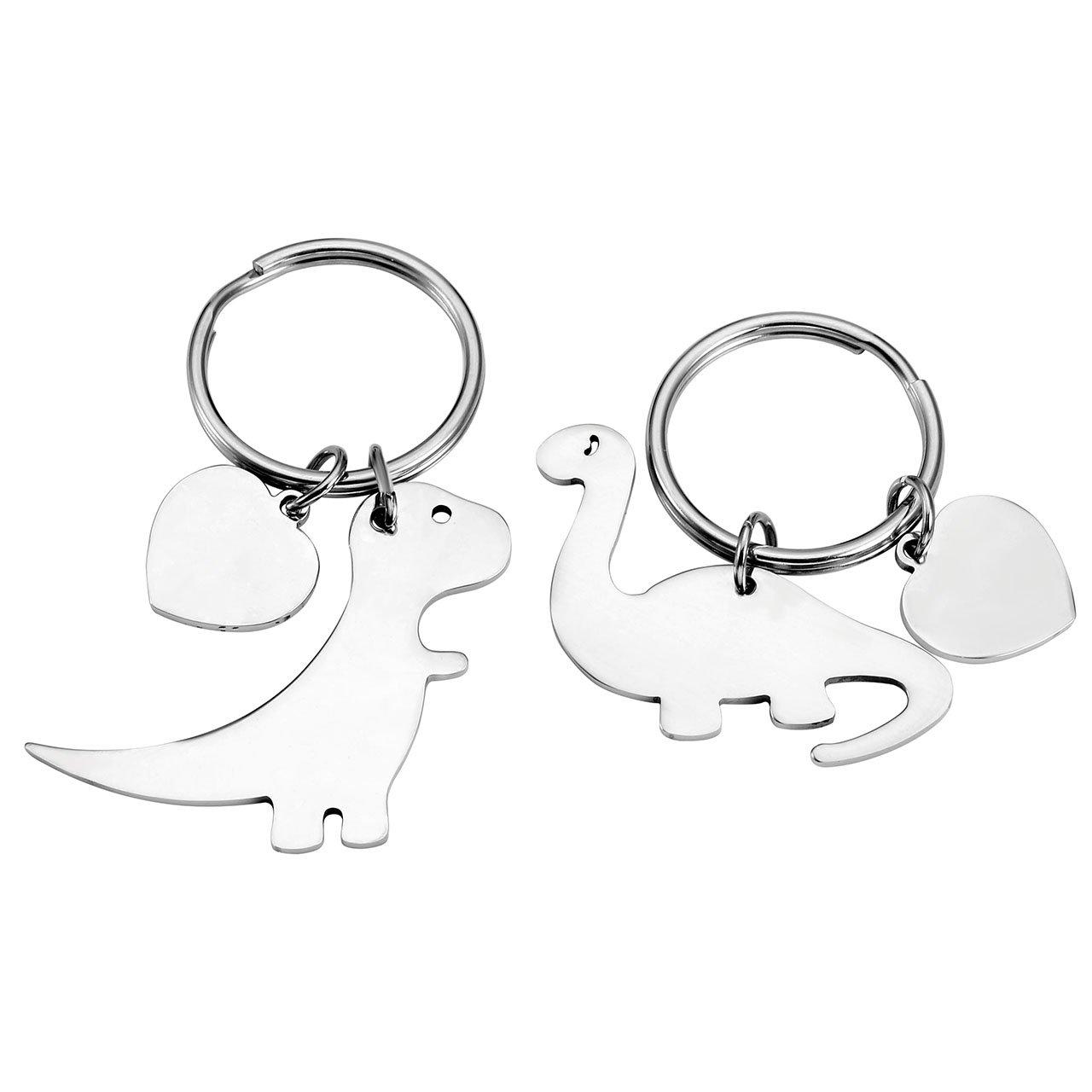 Jovivi 1/Paire Porte-Cl/és Couple pour Maman et Enfant avec Dinosaure personnalis/é en Acier Inoxydable
